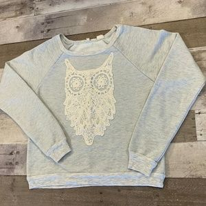 Miss Me Gray Crew Neck Long Sleeve Lace Sweater XS